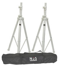 NJS White Speaker Stand Kit inc Carry Bag 35mm DJ Disco Wedding Tripod
