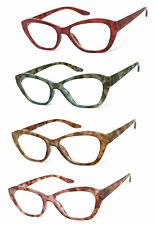 1 or 2 Pairs Womens Cat Eye Translucent Colorful Frame Full Lens Reading Glasses
