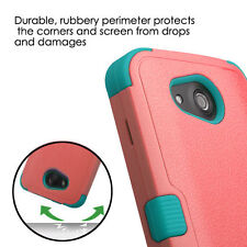 Kyocera Hydro Wave / Air - HARD & SOFT RUBBER HYBRID ARMOR CASE CORAL PINK BLUE