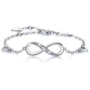 Women's Sterling Silver Heart & Infinity Forever Love Cubic Zirconia Bracelet