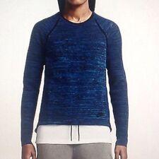 Women's Nike Tech Knit Crew Running Training Top Blue Black Sz SMALL 728669 439