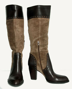 Franco Sarto Brown Genuine Leather & Suede Women's Knee Boots Size US10M