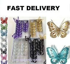 Jewelled Mesh Clip On Butterfly  Butterflies Wedding Craft Decoration 8cm XMAS *