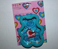NWT NEW Bear Heart Cookie Cutter Metal Wilton Comfort Grip Set 2