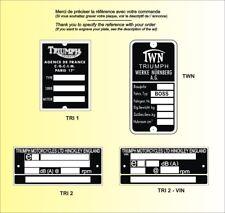 PLAQUE CONSTRUCTEUR Motos TRIUMPH - VIN plates TRIUMPH