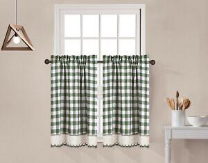 2 Piece Buffalo Check Plaid Gingham Crochet Trim Window Curtain Tier Panel Set