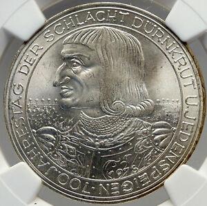 1978 AUSTRIA Rudolph 700Y War Durnkrut Jedenspeigen Silver 100 S NGC Coin i82952