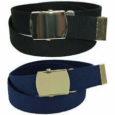 New Ctm Kid's Cotton Belt with Brass Military Buckle (Pack of 2 Colors)