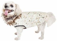 Pet Life  Luxe 'Gilded Rawffled' Gold-Plated Designer Fur Dog Jacket Coat, Wh...