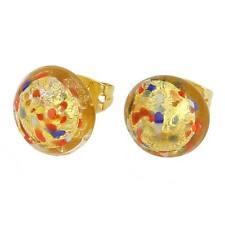 GlassOfVenice Murano Glass Button Stud Earrings - Multicolor Confetti