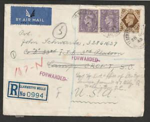 """GB Luftpost R-Brief Llanwrtyd Wells 1943 > Camp Croft USA """" frorwarded """""""