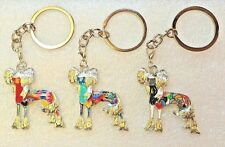 Chinese Crested Dog Key Ring Keychain Pendant Purse Dangle Enamel Alloy Jewelry