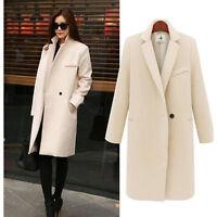 Women Warm Winter Wool Lapel Long Slim Trench Parka Coat Jacket Overcoat Outwear