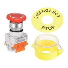 22mm Latching Emergency Stop Push Button Switch W Cover Emergency Stop Sign 2nc