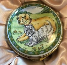Staffordshire Yellow Labrador and White West Highland Terrier Enamel Pill Box