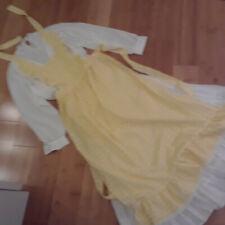 Prairie western Victorian white top white skirt yellow check bib apron sz L Xl
