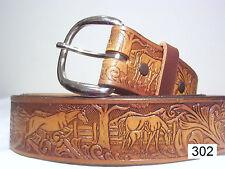 New Tooled Leather Western Horse Belt- Hand Dyed Custom Sizing 28-46