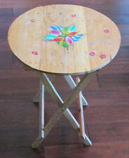 Vtg Wood Round Hand Painted Portable Folding TV Side Table Breakfast Bed Tray