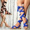 nuove scarpe donna Estate Sandali Strap Gladiator Lacci Partito Blu Beige