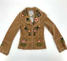 Joystick Johnny Was Womens Corduroy Blazer Jacket Size S Embroidered Floral A5