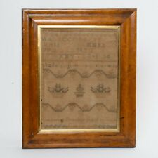 Antique Cross Stitch Embroidery Sampler Alphabet Flower Baskets Named Dated 1832