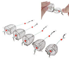 5PCs Wire Fishing Lure Cage Fish Bait Cage Fishing Trap Basket Feeder Holder~JP