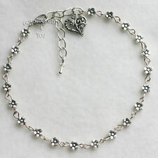 Tibetan Silver Daisy Chain Flower Anklet / Ankle Bracelet Personalise With Charm