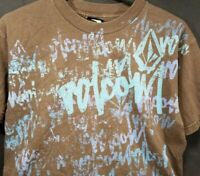 VOLCOM GRAFFITI PRINT SURF SKATE BEACH STREET WEAR BROWN MEDIUM RETRO