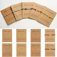 Minimalist Heart Card Bracelet Rope String Jewelry Lucky Gifts Bangle Adjustable