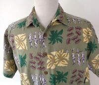 ExOfficio Travel Large S/S Shirt Fish Crabs Green Brown Button Up Cotton Rayon