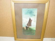 Vintage,Painting,Watercolor,Signed,Sailboat,Moon,Water