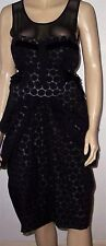 NEXT TALL Black Textured Tie Sides Padded Ruched Party Cocktail Dress Size 10