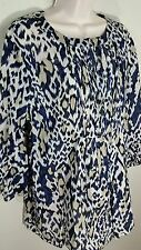 TAHARI Blue & Beige Leopard Print Tunic Blouse Sz XL Pintuck Chest 3/4 Sleeve