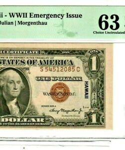 """$1 """"HAWAII"""" (WORLD WAR 2 NOTE) """"C/U 63"""" (BEAUTIFUL) $1 """"HAWAII"""" (C/U 63) !!!!!!!"""