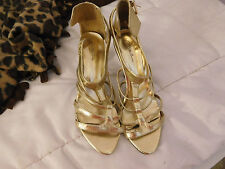 women's high heels gold straps Charlotte Russe used AS IS manmade US size 8