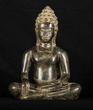 "Antique Thai Style Bronze Seated Buddha Statue Enlightenment - 31cm/12"""