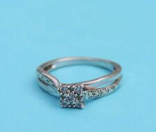 Ladies Genuine Diamond Cluster Ring w/ 9 Round Diamonds - 925 Sterling Silver