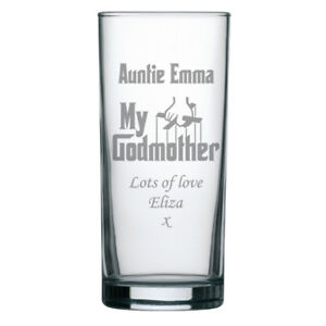 Personalised Engraved Highball Gin Glass The Godmother Christening Gift