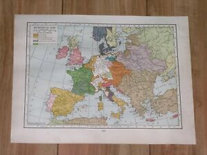 1936 HISTORICAL MAP OF EUROPE 1559 HABSBURGS DOMINIONS POLAND GERMANY FRANCE