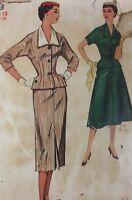 1950's Simplicity Vintage Sewing Suit Pattern 4963 Dress Bust 36