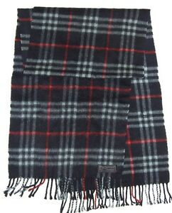 Luxury BURBERRY Navy Blue Red NOVA CHECK Plaid Cashmere Wool Fringed Long SCARF