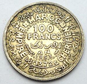 MOROCCO EMPIRE 100 FRANCS 1953 OLD SILVER COIN