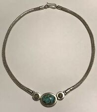 """Artisan Thick Wheat Sterling 16"""" Necklace Faux Turquoise & Glass Cabochon 40g"""