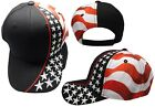 USA Embroidered Stars Cotton Embroidered Black Hat Cap PATRIOTIC US HAT CAP