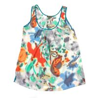 Anthropologie FEI Tank Blouse Women's Small Water Color Floral Liquid Bouquet