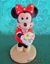 "Disney*Rare Minnie Mouse With Bouquet Of Flowers Figurine*3 3/4""Tall*New*"
