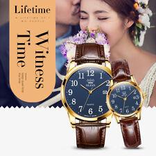 OLEVS Women Men Genuine Leather Quartz Watch Analogue Wristwatches Couples Gifts