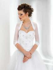 NEW Women Bridal Ivory/White Tulle Bolero Shrug Wedding Jacket Shawl Size S-XXL