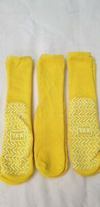 Yellow Single Sided Non Slip Patient Slipper Socks Size XXL (UK 6-9) Pack of 3