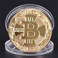 BTC Gold Plated Bitcoin Coin Collectible Gift Coin Art Collection Physical *tr